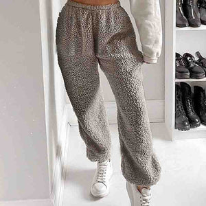 Gray Loose Solid Color Sweatpants