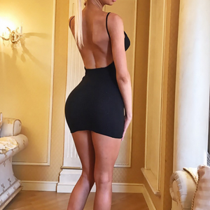 Sexy Backless Zipper Open Back High Waist Dress