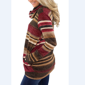 High Collar Striped Casual Long Sleeve Sweater