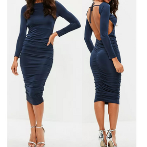Sexy Backless Long Sleeve Stretch Dress