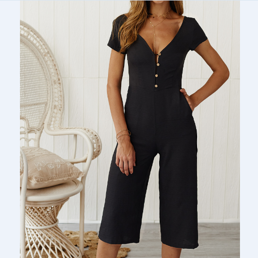 Casual Button Short Sleeve Jumpsuit