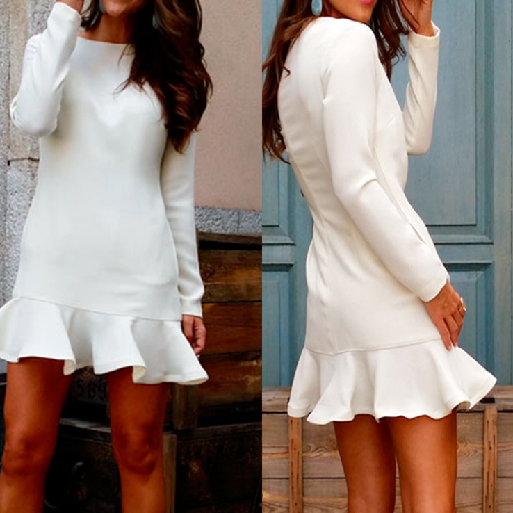 Round Neck Long Sleeve Ruffled Slim Dress