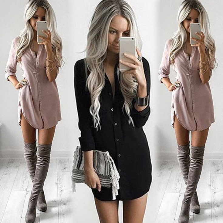 Pure Color V-neck Loose Long Sleeves Long Blouse