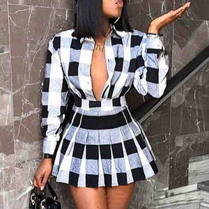 Long Sleeve Check Two-Piece Set