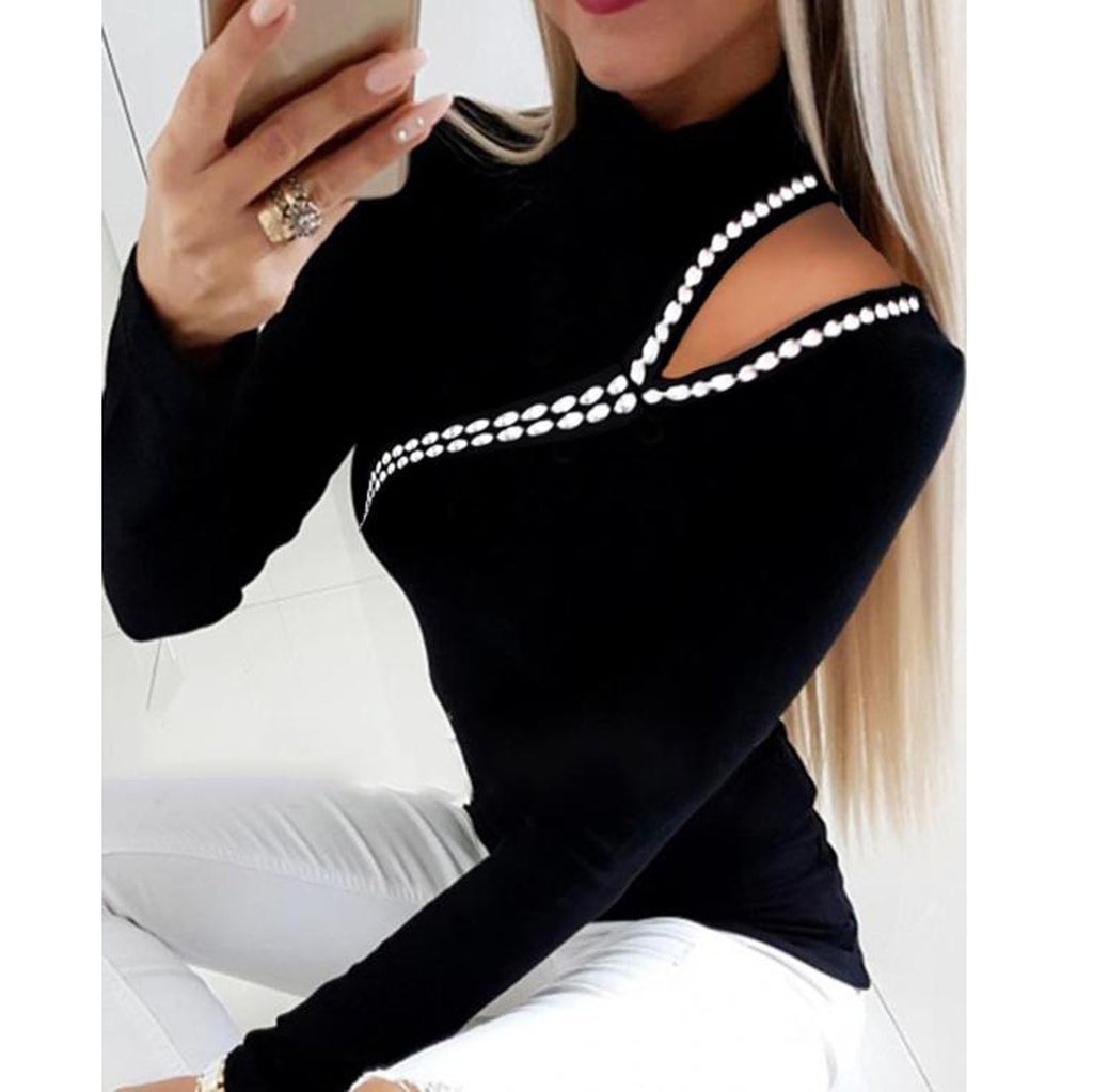 Rhinestone Solid Color T-Shirt Top