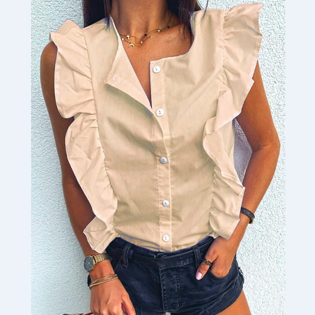 Sleeveless Ruffled Shirt Top