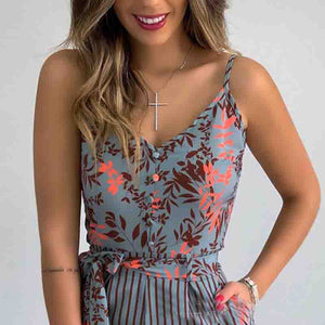 Sexy V-Neck Printed Jumpsuit