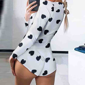 Deep V-Neck Printed Long Sleeve Jumpsuit