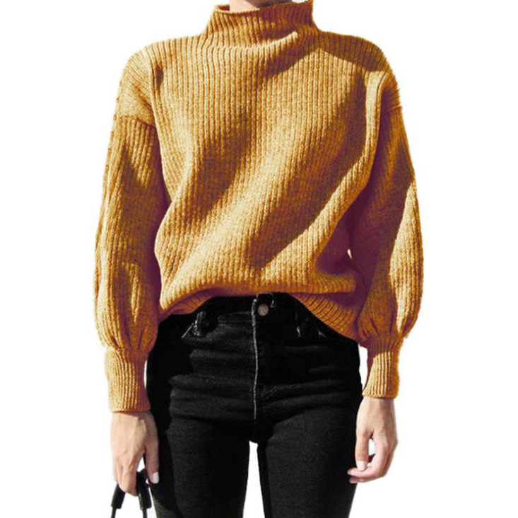 Solid Color Knit Long-Sleeved High-Necked Sweater