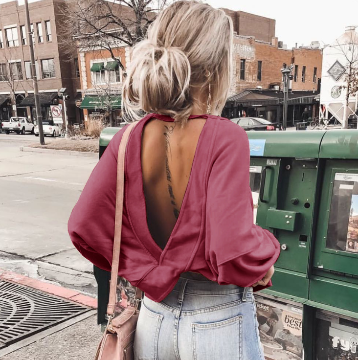 Loose Cross Backless Tops