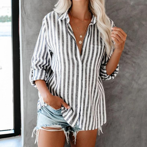 Loose Striped Cardigan Long Sleeve Shirt