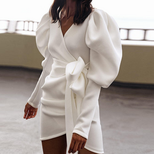 Slim V-Neck Wrapped Chest Bow Long Sleeve Dress