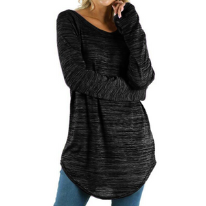 Women'S Solid Color Slim Round Neck Long-Sleeved T-Shirt