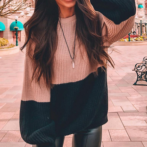 Long Sleeve Round Neck Women'S Striped Knit Sweater