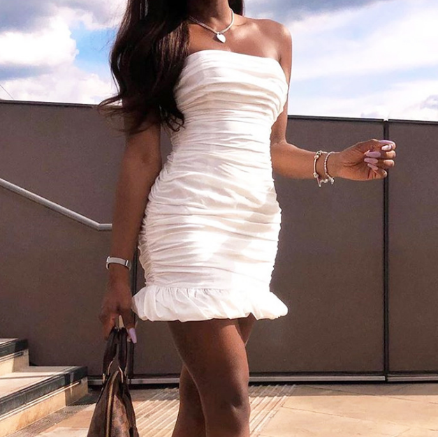 White Fashion Sexy Wrapped Chest Bag Hip Dress