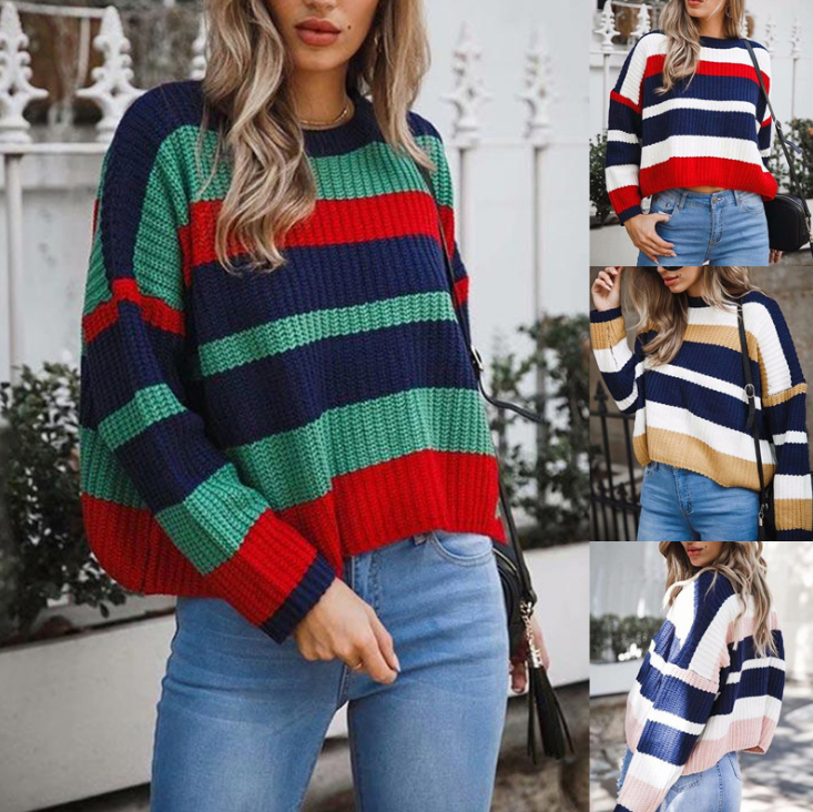 Batwing Sleeve Rainbow Striped Sweater