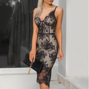 Fashion Sexy Women'S Sling V-Neck Lace Embroidered Slim Dress