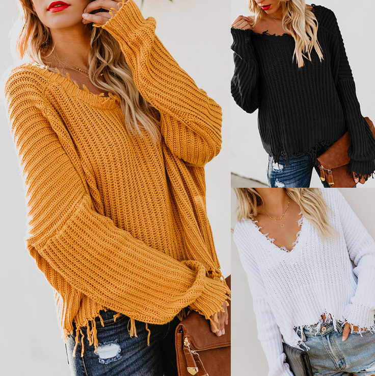 Loose Long Sleeve V-Neck Solid Color Halter Sweater
