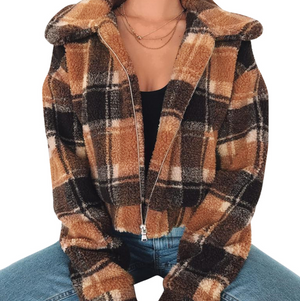 Long Sleeve Plaid Jacket