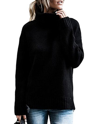 Women'S Solid Color Knitting Long Sleeve Sweater