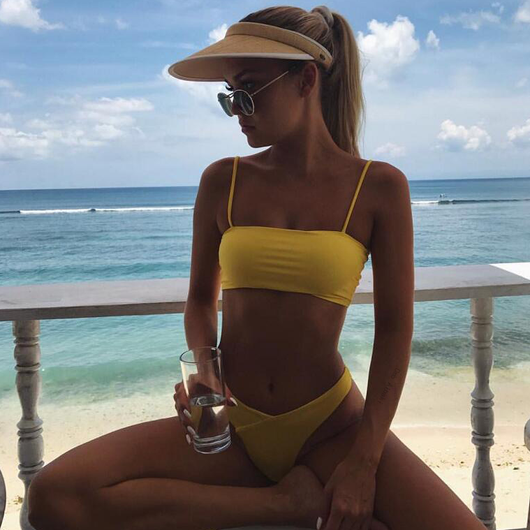 Solid Color Sexy Bikini Split Swimsuit