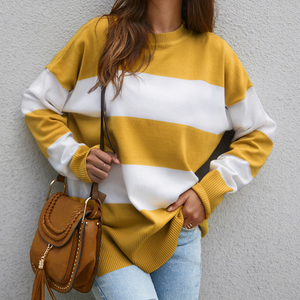 Design Round Neck Knit Stripe Stitching Sweater