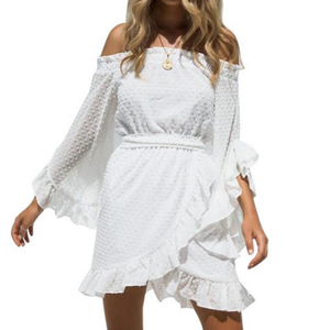 Sweet White Long Sleeve Chiffon Dress