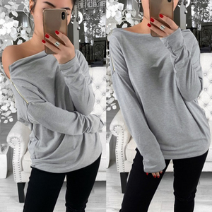 Long-Sleeved Sexy Word Collar Loose Zipper Top