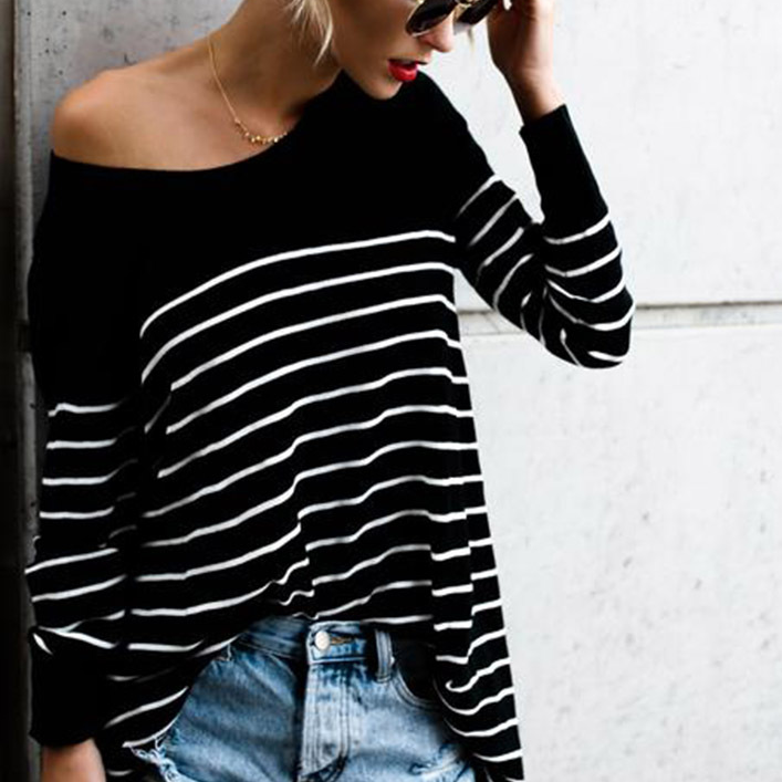 Women'S Striped Stitching Long-Sleeved T-Shirt