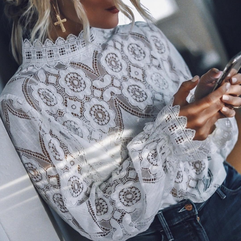 Women's Sexy Long Sleeve Lace Top