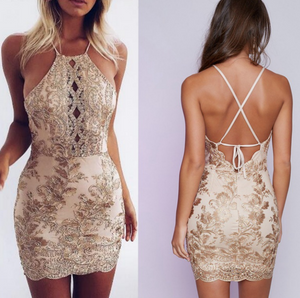 Sexy Lace Backless Pack Hip Dress