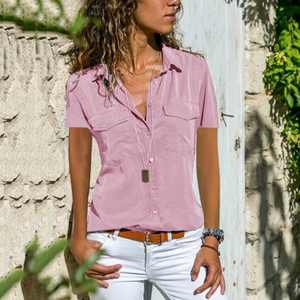 Solid Color Buttoned Short Sleeve Shirt