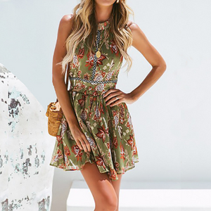 Fashion Sexy Chiffon Printed Halter Dress