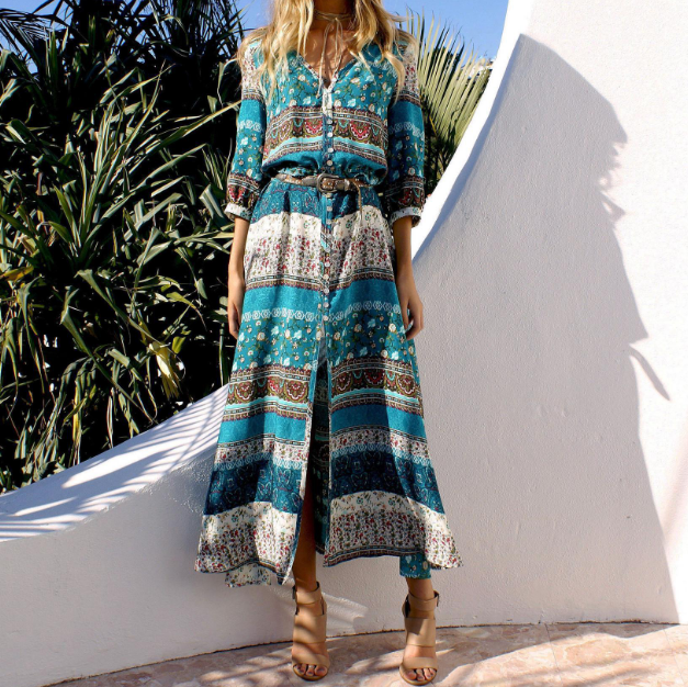 Long Sleeve Bohemian Maxi Dress