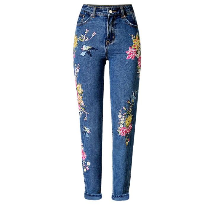 Embroidery High Waist Straight Jeans