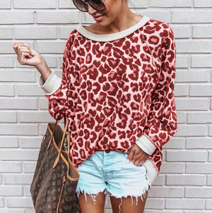 Long Sleeve Printed Leopard Print Color Round Neck Sweater