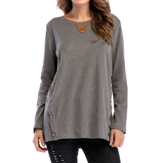 Round Neck Long Sleeve Large Size Button Shirt