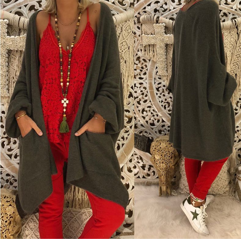 Loose Solid Color Long Sleeve Coat