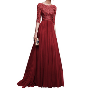 Half Sleeve Long Lace Dress