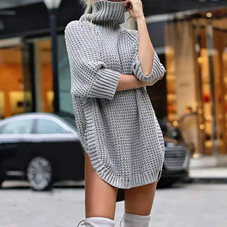 High-Necked Loose Solid Color Knit Long Sleeve Sweater