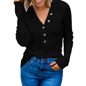 Solid Color V-Neck Long-Sleeved T-Shirt