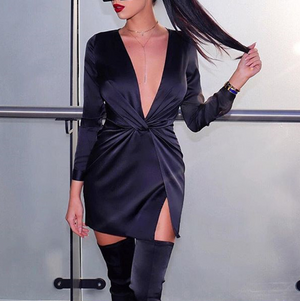 Fashion V-Neck Sexy Long-Sleeved Dress