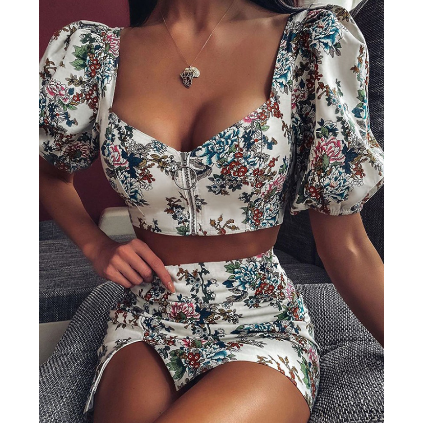 Slim Printing Short Sleeve Two-Piece Dress