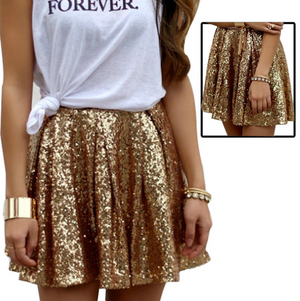 Sexy Fashion Gold Sequined Skirt