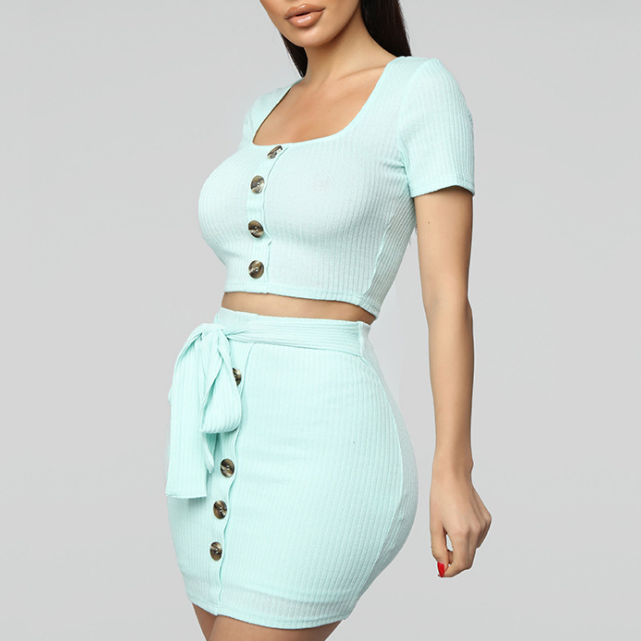 Sexy Short Sleeve Vest Two-Piece Set