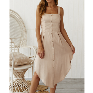 Fashion Sleeveless Strapless Button Sling Dress