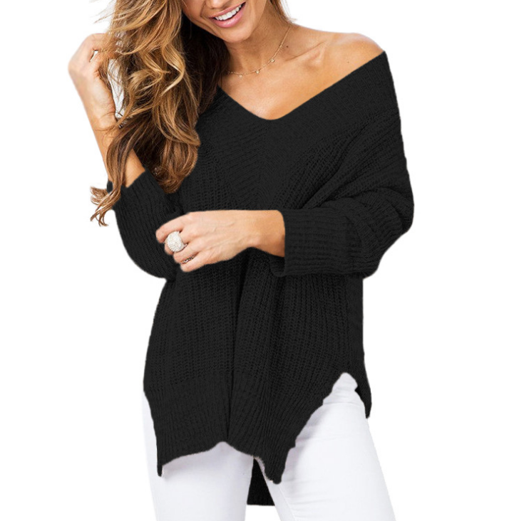 Long Sleeved Sexy V-Neck Knit Sweater