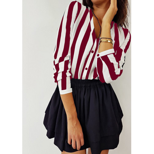 Sexy V-Neck Striped Long-Sleeved Top