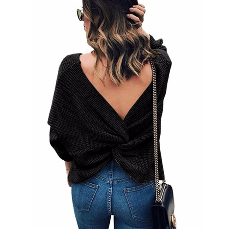 V-Neck Backless Knitting Long Sleeve Sweater