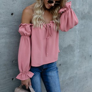 Pink Long Sleeve Bow Top